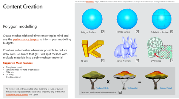 Ekrānuzņēmums, kurā redzama 3D satura pamatnostādņu satura izveides sadaļa