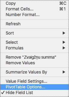 Rakurstabulas opcijas programmā Excel darbam ar Mac kontekstizvēlnē.