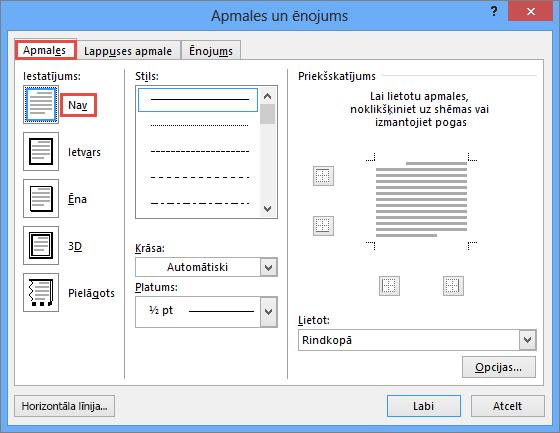 Dialoglodziņš Outlook 2010 apmales un ēnojums