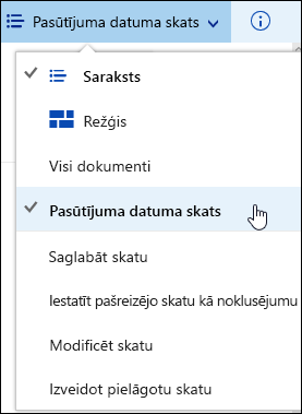 Pielāgotus dokumentu bibliotēkas skatu saglabāti Office 365