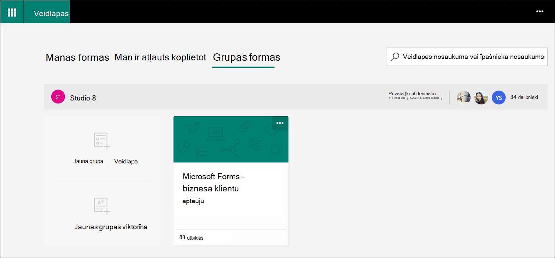 Microsoft Forms grupas veidlapu cilne