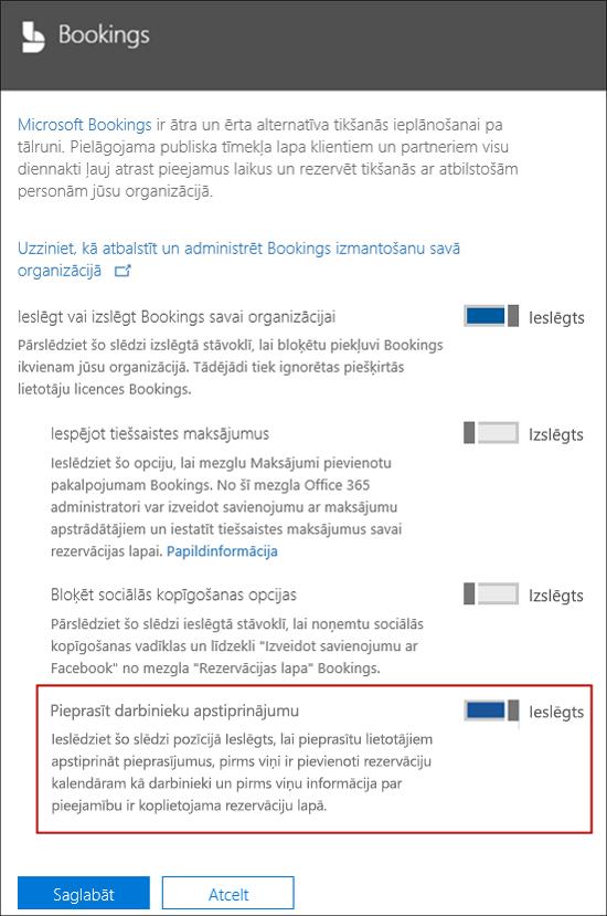 Ekrānuzņēmums: Atlasiet šo opciju, lai pieprasītu lietotāja apstiprinājumu pirms tās lapai var pievienot rezervēšana