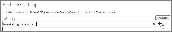 Sūtītāja bloķēšana programmā Outlook Web App