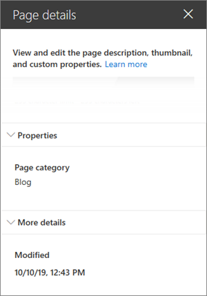 Page details pane with Page category of blog