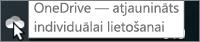 Ekrānuzņēmums, kurā redzams kursors virs baltās OneDrive ikonas, ar tekstu OneDrive - individuālai lietošanai.