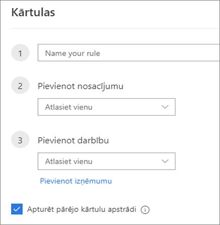 Jaunas kārtulas izveide programmā Outlook tīmeklī