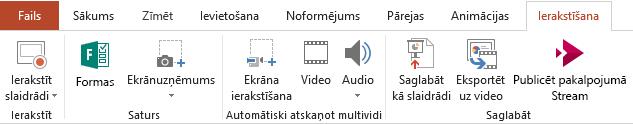 Rāda ierakstīšanas cilni PowerPoint 2016 lentē