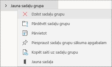Sadaļu grupu dzēšana programmā OneNote darbam ar Windows10