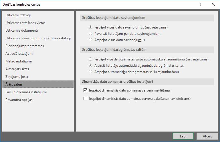 Ārējā satura Excel drošības kontroles centra iestatījumi