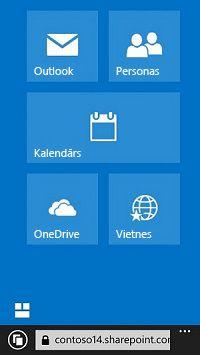 Office365 navigācijas elementu izmantošana, lai atvērtu vietnes, bibliotēkas un e-pastu