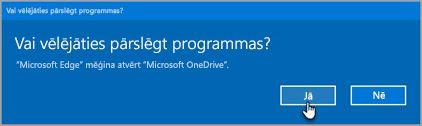 Office 365 maiņas programmas uzvedne