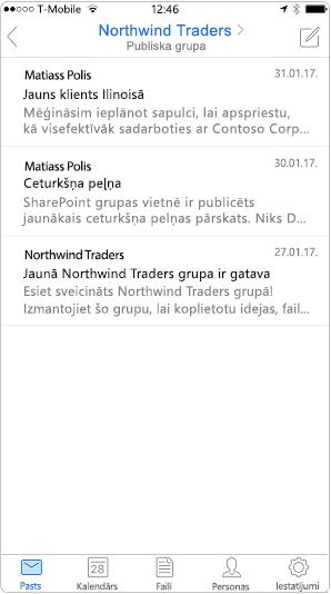 Sarunas skatā Outlook mobilajā lietojumprogrammā