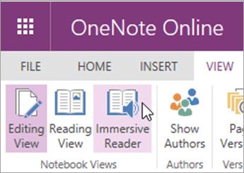Atvērt mācību rīkus programmā OneNote Online, atlasot cilni Skats