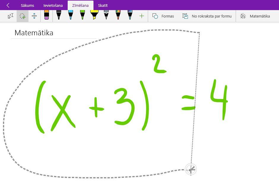 Laso atlase rokraksta matemātisko vienādojumu