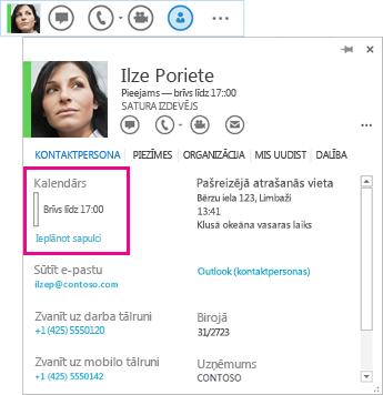 Kontaktpersonas QuickLync un kontaktpersonas vizītkartes ekrānuzņēmums, kurā iezīmēts kalendārs un sapulces plānošana