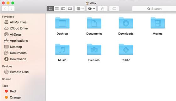 piemērs — sākuma logs Mac datorā