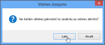List delete confirmation dialog box with OK highlighted