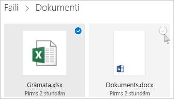 Ekrānuzņēmums ar faila atlasīšanu pakalpojuma OneDrive elementu skatā