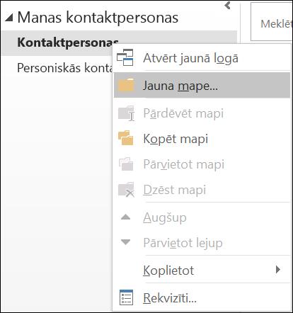 Izveidojiet jaunu kontaktpersonu mapi.