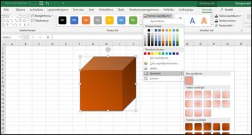 Izklājlapa, kurā ir parādīta iezīmēta forma un gradienta izvēles iespējas