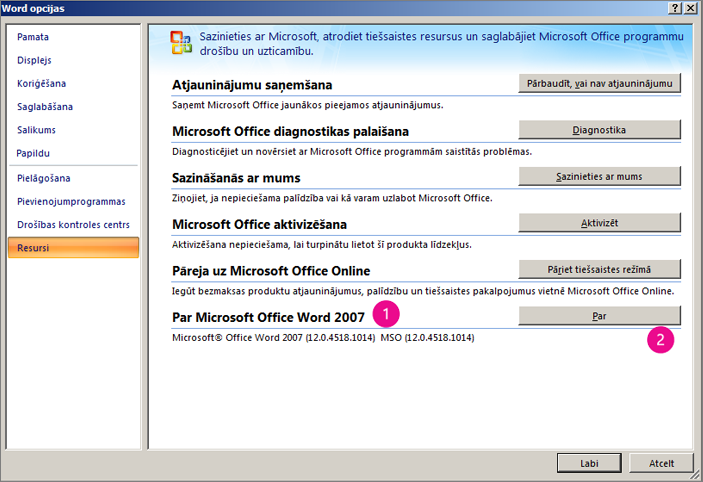 Resursu logs sadaļā Word opcijas programmā Word 2007