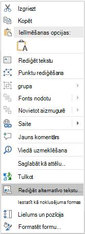 PowerPoint Win32 izvēlne Rediģēt alternatīvo tekstu formām