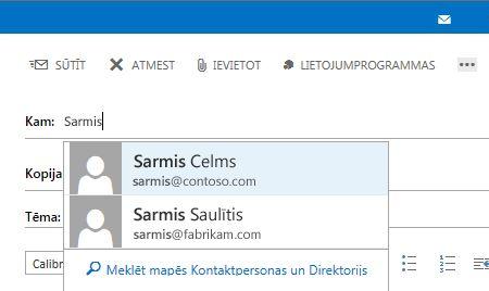 Outlook Web App automātiskās pabeigšanas saraksts