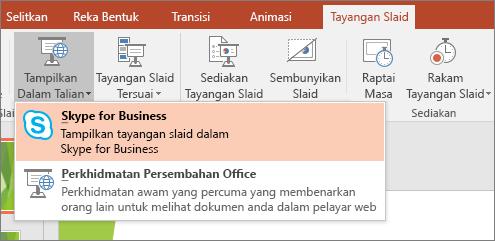 Menunjukkan opsyen untuk persembahan dalam talian dalam PowerPoint
