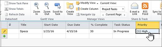 Isikan tajuk, tarikh dan status tugas projek anda