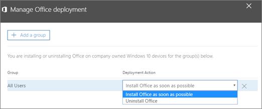 Dalam tetingkap penggunaan Office Uruskan, pilih sama ada memasang Office secepat mungkin, atau membuang pemasangan Office.