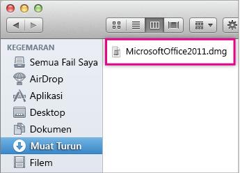 Pilih fail MicrosoftOffice2011.dmg