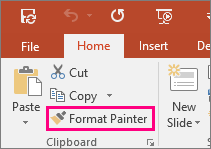 Menunjukkan butang Pelukis Format dalam PowerPoint