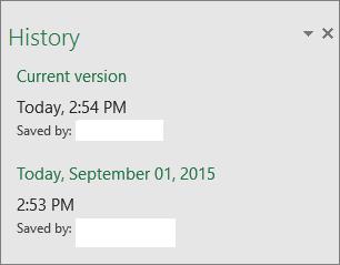 Anak tetingkap Sejarah dalam Excel 2016 for Windows