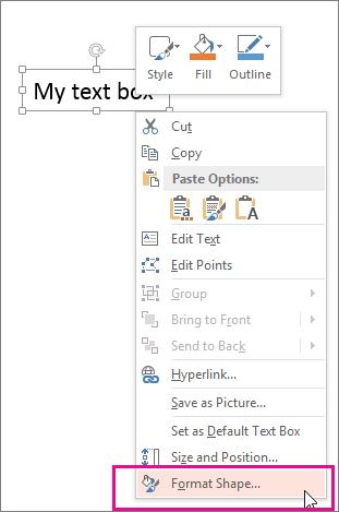 Perintah Format Bentuk pada menu pintasan, dipicu dengan mengklik kanan sempadan bentuk