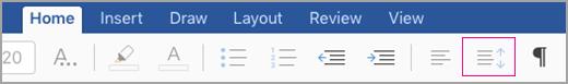 ikon jarak baris iPad