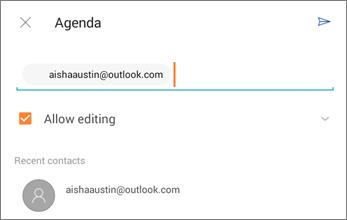 Petikan skrin menjemput individu untuk berkongsi fail dari OneDrive for Android