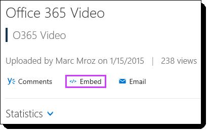 Kod benam Video Office 365