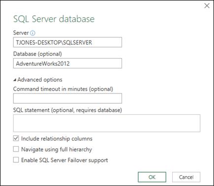 Dialog sambungan Power Query pangkalan data SQL Server