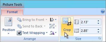 Butang Pangkas pada tab Format alat gambar