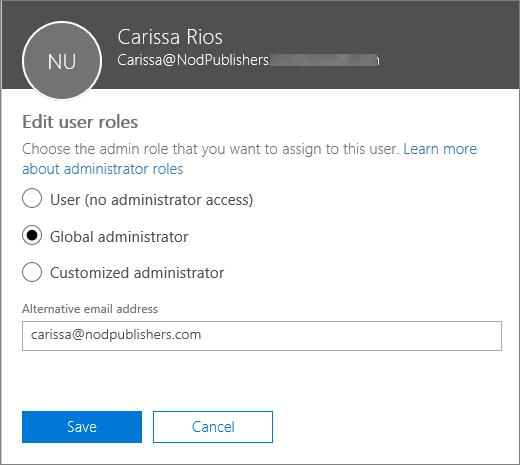 Anak tetingkap Edit peranan pengguna yang anda boleh mengubah peranan pengguna dan mengubah alamat e-mel alternatif.