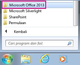 Kumpulan Office 2013 di bawah Semua Program dalam Windows 7