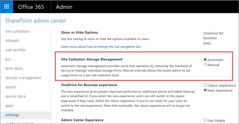 Skrin Office 365 SharePoint Online seting dengan Managment koleksi laman yang diserlahkan