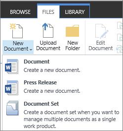 Butang dokumen baru dengan juntai bawah pada reben