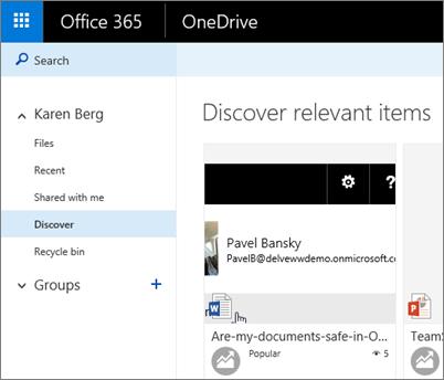 Petikan skrin pandangan menemui dalam OneDrive for Business
