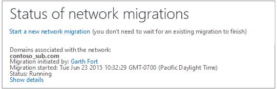 Petikan skrin menunjukkan Status migrasi rangkaian - migrasi rangkaian Yammer sedang berjalan