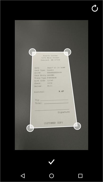 Petikan skrin ciri Pangkas dalam Office Lens untuk Andorid.
