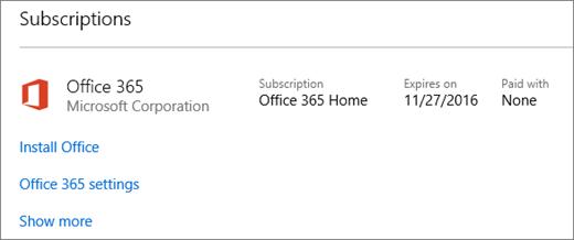 Jika percubaan Office 365 anda telah dipasang pada PC baru, ia akan tamat tempoh pada tarikh yang ditunjukkan