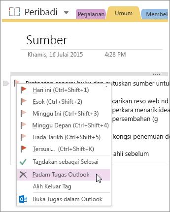 Petikan skrin cara untuk memadamkan tugas Outlook dalam OneNote 2016.