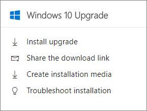 Windows 10 menaik taraf Kad dalam Pusat pentadbiran.