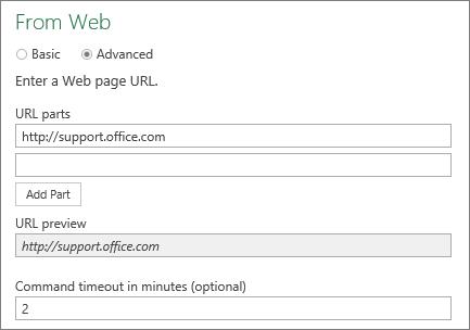Daripada kotak dialog Web, Perintah tamat masa dalam kotak minit